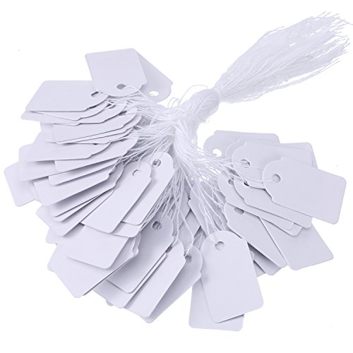 BBTO White Price Tags Paper Gift Marking Tags Strung Jewelry Price Labels Clothing Display Tag, 500 Pack, 18 by 29 mm ()