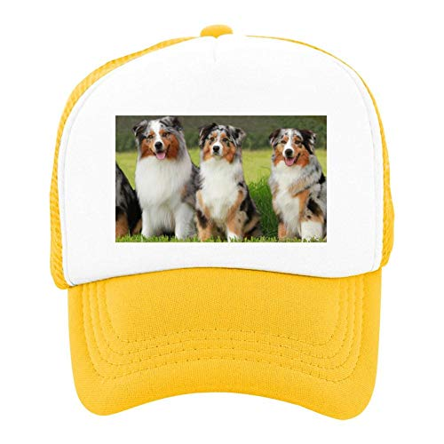 EThomasine Kids Girls Boys Mesh Cap Trucker Hats Australian Shepherd Adjustable Hat Yellow by EThomasine