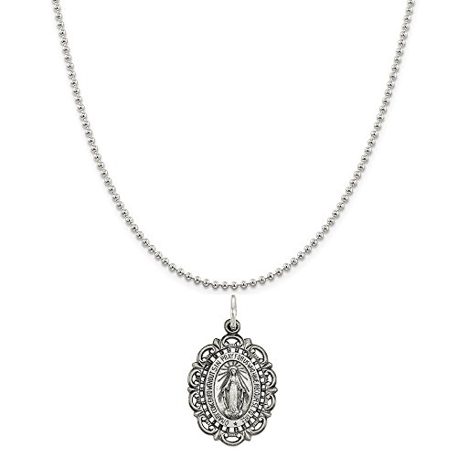 Sterling Silver Antiqued Miraculous Medal on a Sterling Silver Ball Chain Necklace ()
