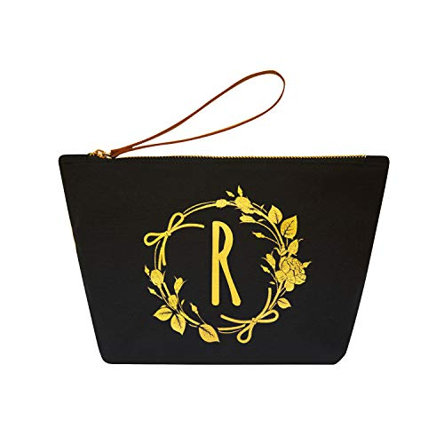 ElegantPark R Initial Monogram Personalized Travel Makeup Cosmetic Bag Wristlet Pouch Gifts Black with Zipper Canvas