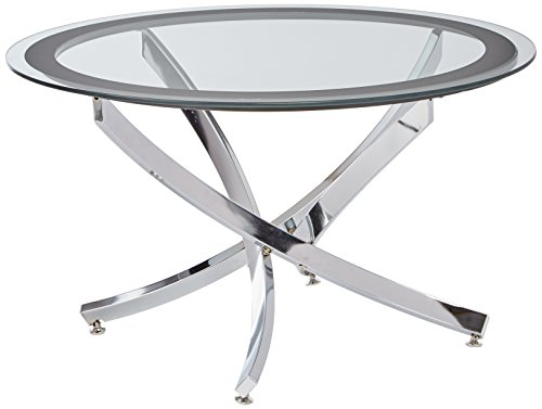 Norwood Coffee Table with Tempered Glass Top Chrome and Clear (Coffee Table Chrome)