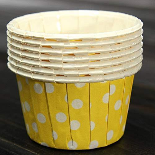 Baking Cups - 100x Cupcake Per Paper Cake Case Baking Cups Liner Muffin Yellow - Fall Oven Dots Bento Natural Sunflower Tan Bak Baby Metal ()