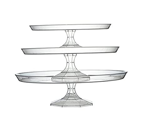 Adorn Home Essentials| Platter Pleasers Plastic Cupcake/Cake Stand| 3 Piece set (Clear)