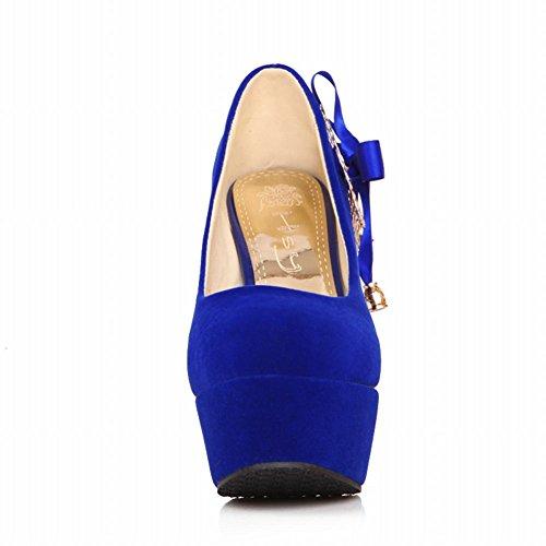 Latasa Mujeres Hot Elegant Bow High Heel Platform Dress Bombas Zapatos Para Boda, Fiesta Royal Blue