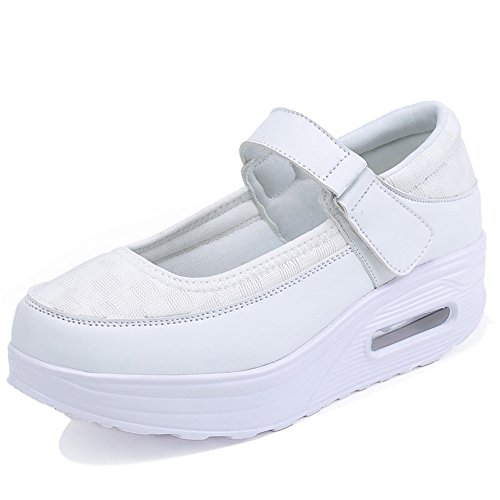 RX2968baise41-wamgmian EnllerviiD Women Shape Up Mary Jane Shoes White Fitness Toning Walking Sneakers White 8 B(M) US (Shoes White Jane Mary Nursing)