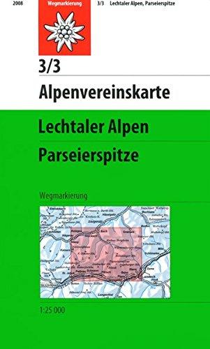 Lechtaler Alpen   Parseierspitze  Topographische Karte 1 25000  Alpenvereinskarten