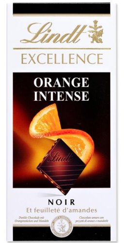 Lindt Excellence Intense Orange Dark Fine Choclate Bar with oieces of orange and almond slivers, 100 g (pack of 4 Choclate bars).