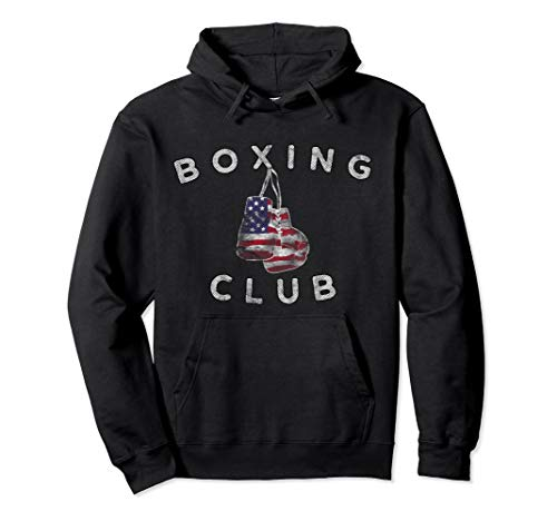 Boxing Club Vintage US Flag Boxing Gloves Pullover Hoodie Pullover Hoodie