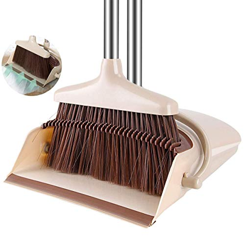 Broom and Dustpan/Dust Pan & Broom Combo Set with 50 inch Long Handle For Home Kitchen Room Office Lobby Floor Use Upright Stand Up ()