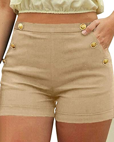 Pibilu Women's High Waisted Casual Shorts Summer Sexy Button Party Shorts with Pockets Khaki