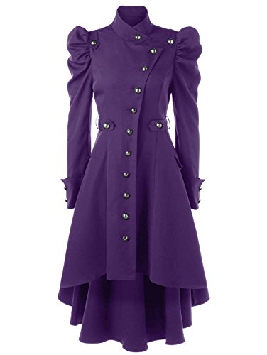 Beebeauty Gothic Vintage Womens Steampunk Victorian Swallow Tail Long Trench Coat Jacket (M, Purple) -