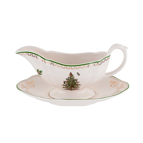 Spode Christmas Tree Sauce Boat and Stand, - Sauce Gold Boat