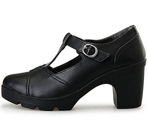 DADAWEN Women's Classic T-Strap Platform Mid-Heel Square Toe Oxfords Dress Shoes Black US Size 9 by DADAWEN (Image #3)
