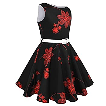 Hbbmagic Girls Sleeveless Round Neck Floral Audrey 1950s Fashion Vintage Swing Party Dress (Girls 11-12, Red Bouquet) 2