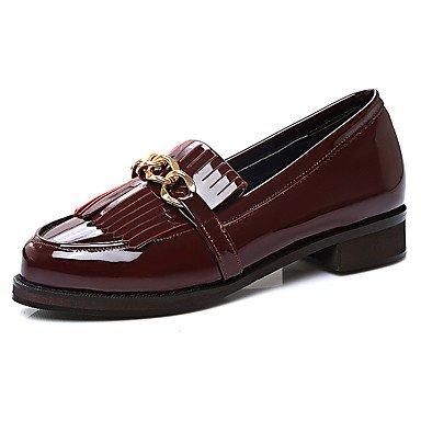 Zapatos de tacones de las mujeres Primavera Verano Otoño Invierno Comfort cuero sintético oficina y carrera Fiesta y Noche Casual tacón grueso borla Negro Blanco Borgoña Black