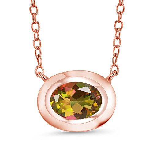 Gem Stone King 0.80 Ct Oval Mango Mystic Topaz 18K Rose Gold Plated Silver Pendant With Chain