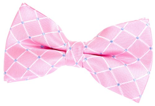 """Dots and Check Pattern Woven Pre-tied Bow Tie (5"""") - Various Colors"""