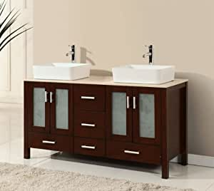 58 inch walnut brown wood double sink bathroom vanity with ivory beige cream marble for 58 inch double bathroom vanity