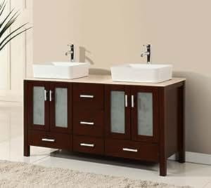 58 Inch Walnut Brown Wood Double Sink
