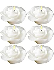 Biedermann & Sons Rose-Shaped Floating Candles in White, Pack of 12