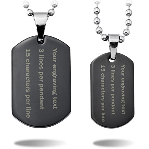MeMeDIY 2PCS Black Stainless Steel Pendant Necklace Dog Tag Couple - Customized Engraving