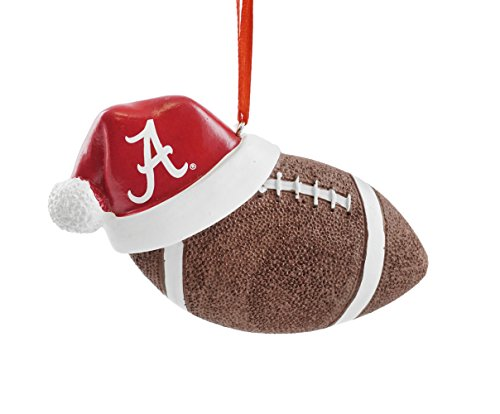 (University of Alabama Santa Hat Football Hanging Christmas Ornament)