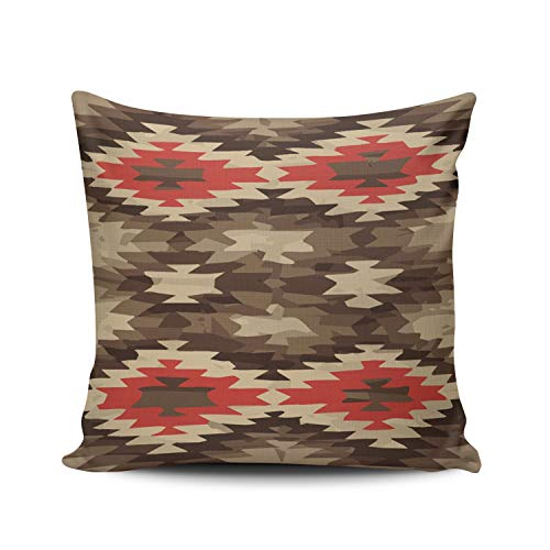 MUKPU Fashion Home Decoration Design Throw Pillow Case Red Brown Terra Cotta Navajo Pattern 18X18 Inch Square Custom Pillowcase Cushion Cover Double Sided Printed (Set of 1)