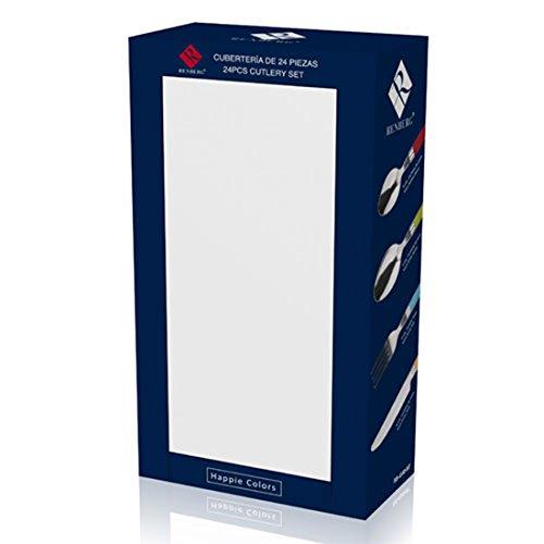Renberg Happy Colors Cubertería de 24 Piezas en Acero Inoxidable, Centimeters: Amazon.es: Hogar
