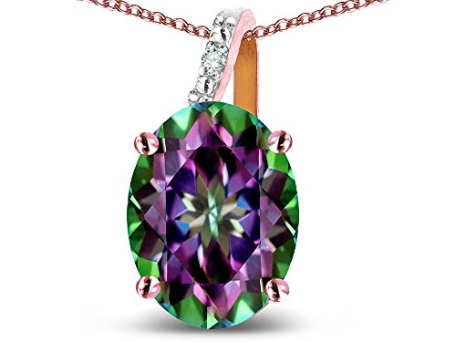 - Star K 14k Gold Oval 9x7 Rainbow Mystic Topaz Journey Pendant Necklace