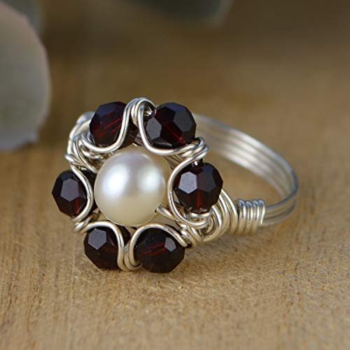 Floral White Freshwater Pearl Bead and Any Birthstone Crystals Beads Sterling Silver, Yellow or Rose Gold Filled Wire Wrapped Ring- Custom made to size 4-14 (Floral Wrapped Gemstone)