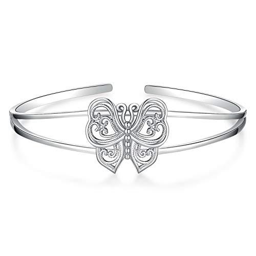 JewelryPalace Vintage Filigree Hollow Butterfly Split Bangle Cuff Bracelet 925 Sterling Silver