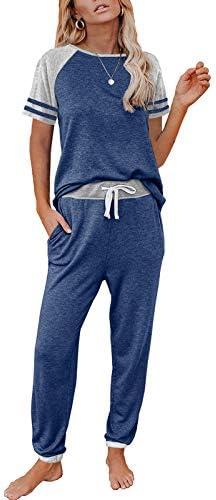 AUTOMET Women's Loungewear Two Piece Pajama Sets Sweatsuit Short Sleeve Crewneck Jogger Lounge Set and Sweatpants Outfits