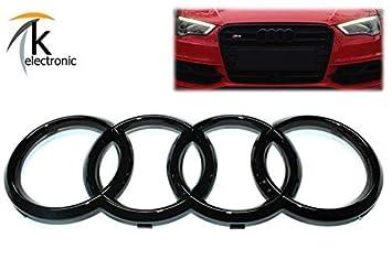 k-electronic Audi A3 S3 RS3 8 V Emblema Negro Brillante/Audi Anillos Enfriador Parrilla Frontal Delantera: Amazon.es: Coche y moto