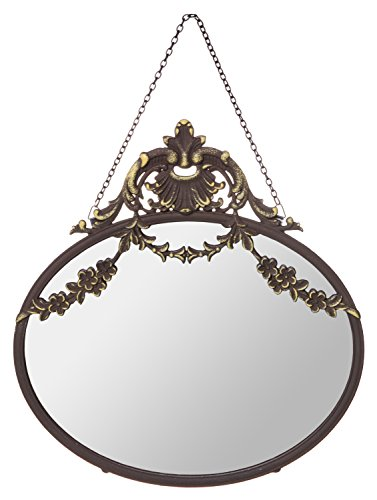 Vintage Chateau Pewter Framed Wall Mirror with Hanging Chain, Medium, 10-inch by Red Co. (Image #1)
