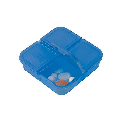portapillole mini da 4 scomparti indipendenti (2 pezzi) in pvc resistente blu Agendepoint.it