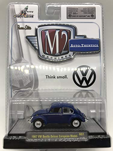 M2 Machines Auto-Thentics 1967 VW Beetle Deluxe European Model 1/64 R01 13-03 Dark Blue Details Like NO Other! Over 42 Parts