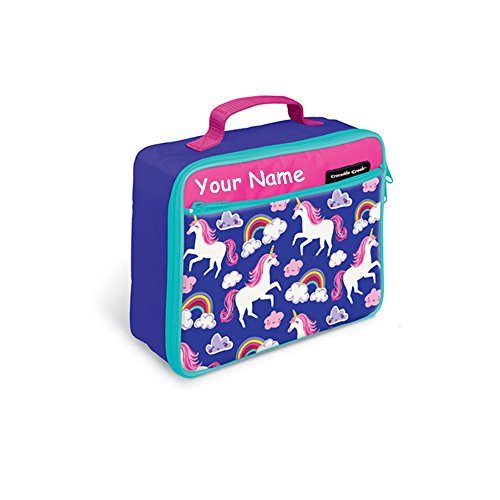 - Personalized Crocodile Creek Kids Unicorn with Rainbows Pink and Purple Lunchbox Lunch Bag Tote