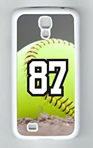 Softball Sports Fan Player Number 87 Decorative White Rubber Samsung Galaxy S4 Case