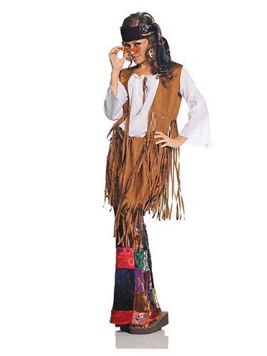 Underwraps Costumes  Women's Retro Hippie Costume - Peace Out, White/Tan/Multi, Large