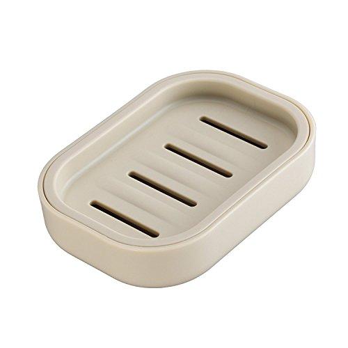 (Ruichicoo Soap Dish Holder Case Box Sponge Holder Container for Bathroom (Khaki) )