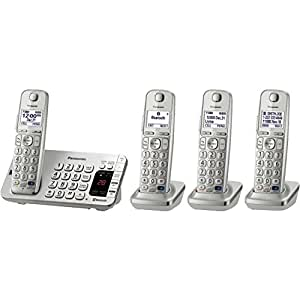 Panasonic Link2Cell Bluetooth (KX-TGE274S) 4 Handsets - Corldess Phone with Large Keypad, Silver