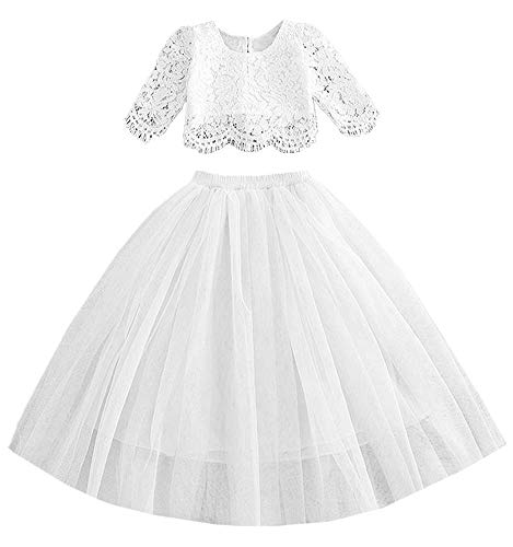 2Bunnies Girl Lace Straight Tutu Tulle Party Flower Girl Dress Set (White, 4T)