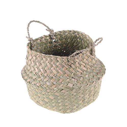 RubyShop724 Basket Rattan Folding Wicker Handle Round Natural Sea Grass Plant Storage WoodRS (Rattan Kooboo)