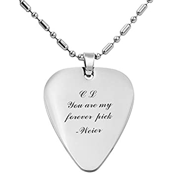 Amazon Com Engraved Stainless Steel Guitar Pick Necklace