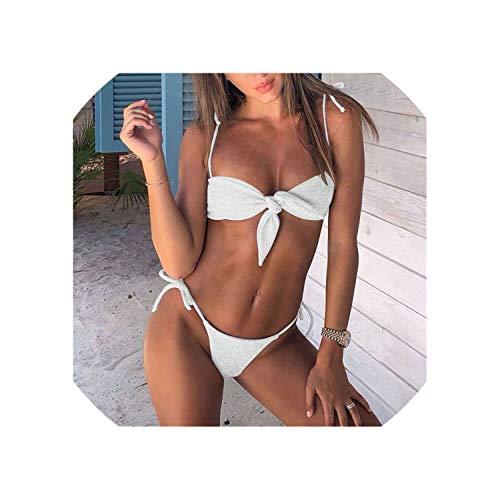 Purple Bow Knot Bikinis Monokini Bandage Micro Brazilian Bikini Set Tie Front Swimsuit 2019,BSC A967 White,M