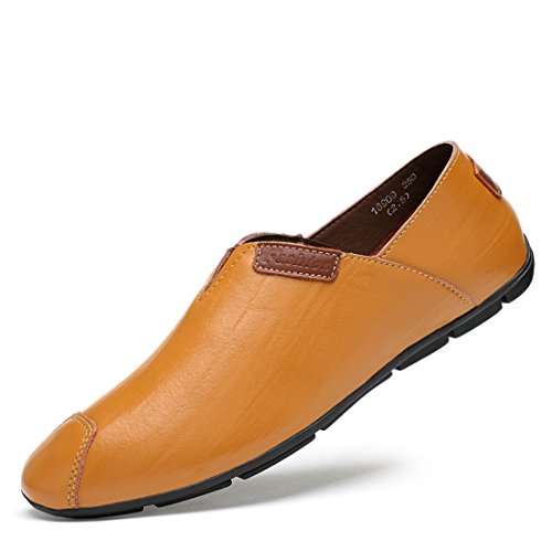 Minitoo Boys Mens Pointed Toe Synthetic Slip-On Loafers Brown