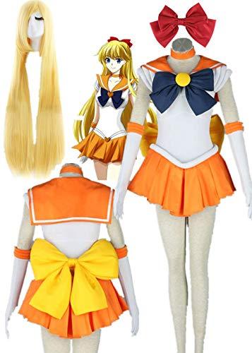 YOUYI Sailor Moon Sailor Venus Halloween Cosplay Costume Aino Minako Cosplay Wig Halloween (M)
