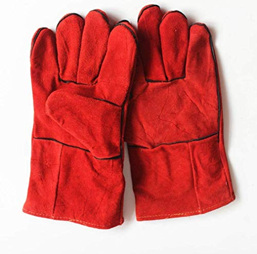 (LANYUER Gloves High Temperature Stove Long Lined Welders Gauntlets Large Red Stove Fire and Barbecue Gloves)
