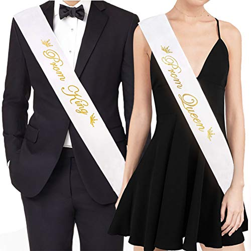 SAKOLLA Prom King and Prom Queen Satin Sash, Graduation Party School Party Accessories,Bachelorette Party Wedding Bridal Shower Party Favors