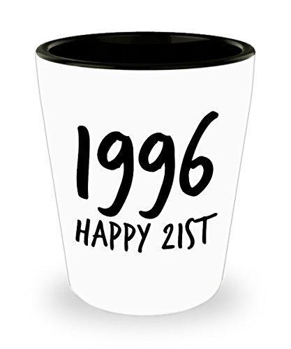 Happy 21 Shot Glass - 1996 Birthday - Novelty Shot Glasses -